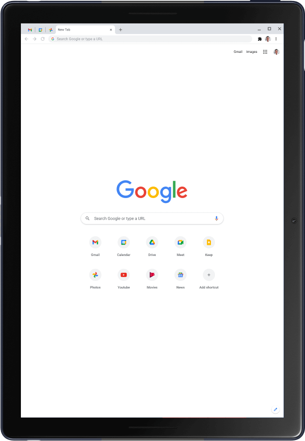 Pixel Slate tablet in portrait mode, showing the Google home page.