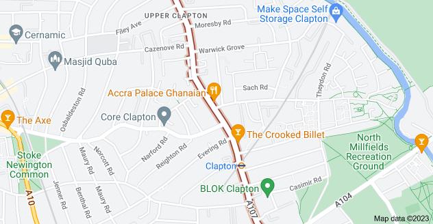 Map of Upper Clapton Rd, London E5 9BU