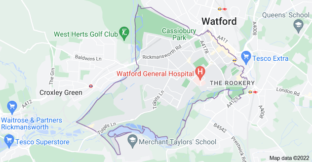 Map of Watford WD18