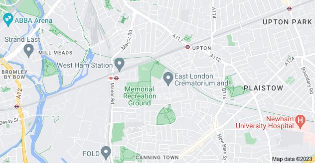 Map of Plaistow, London E13 0EA