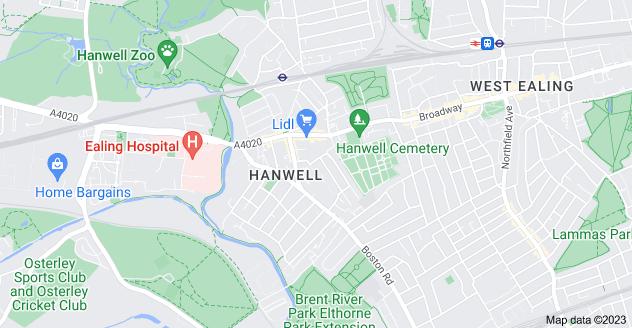 Map of Hanwell, London W7 3PH