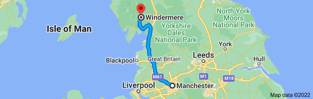 Map from Manchester to Windermere