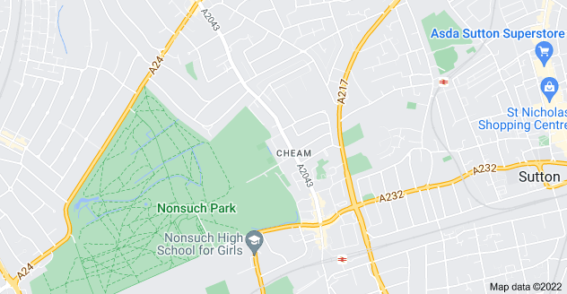 Map of Cheam, Sutton