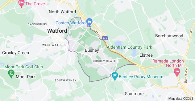 Map of Bushey WD23