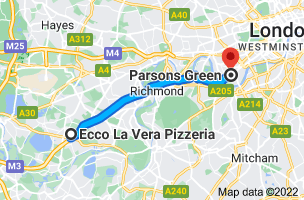 Map from Ecco La Vera Pizzeria, 137 Vicarage Rd, Shepperton, Sunbury-on-Thames TW16 7QB to Parsons Green, London SW6 4UJ