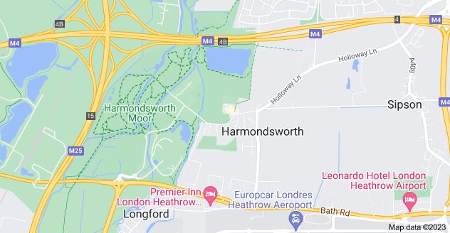 Map of Harmondsworth, West Drayton