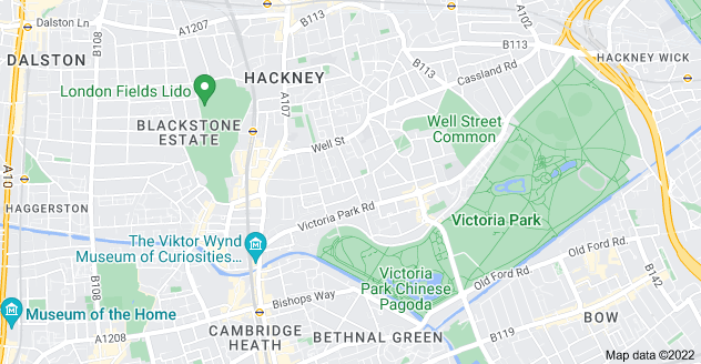 Map of South Hackney, London E9 7JR