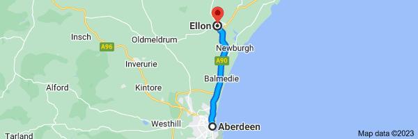 Map from Aberdeen to Ellon
