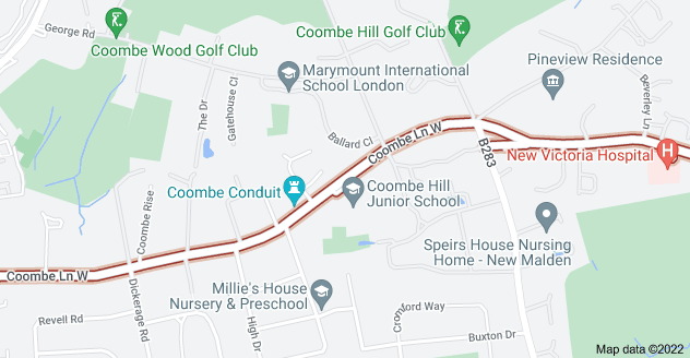 Map of Coombe Ln W, Kingston upon Thames KT2 7BX