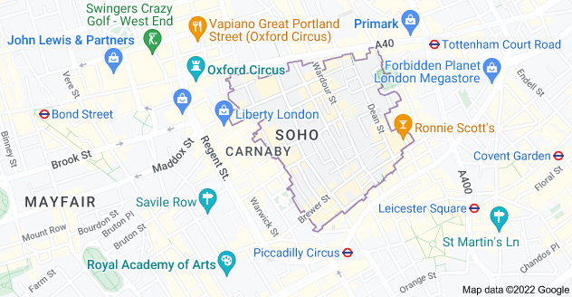 Map of Soho, London W1F