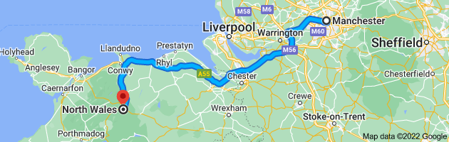 Map from Manchester to North Wales
