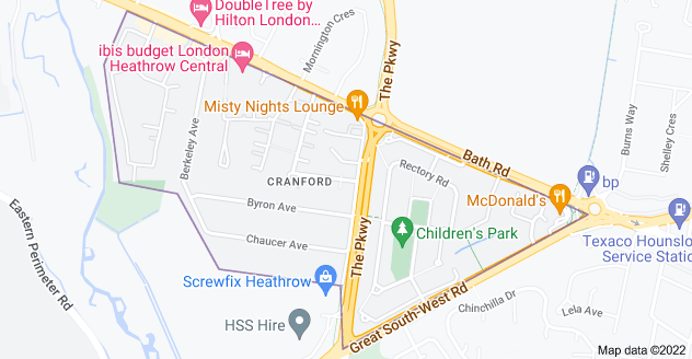 Map of Cranford, Hounslow