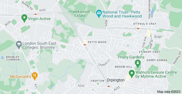 Map of Petts Wood, Orpington