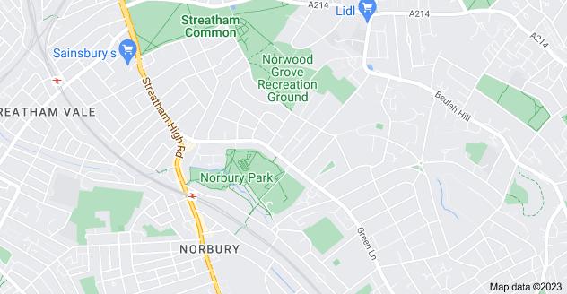 Map of Norbury, London SW16 3JN