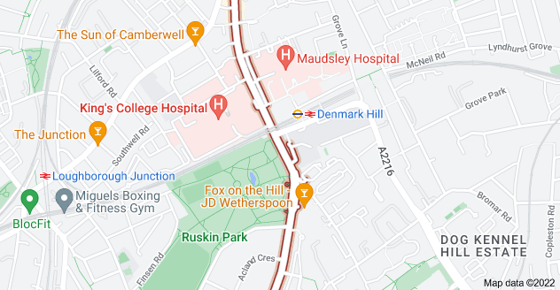 Map of Denmark Hill, London