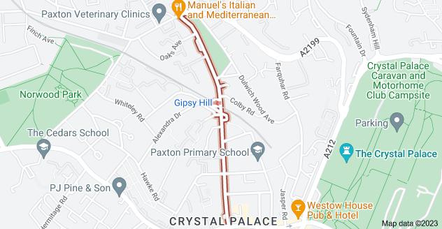 Map of Gipsy Hill, London SE19