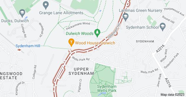 Map of Sydenham Hill, London SE26 6SH