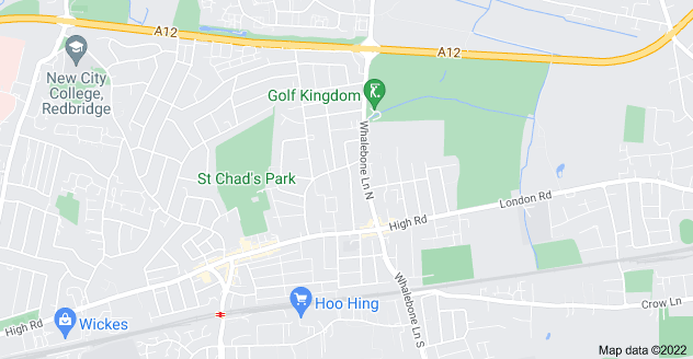 Map of Chadwell Heath, Dagenham