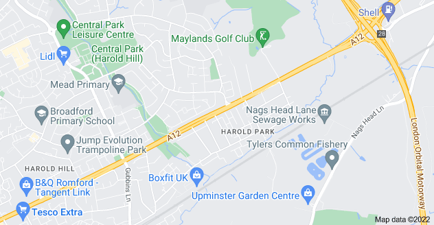 Map of Harold Park, Romford RM3 0YD