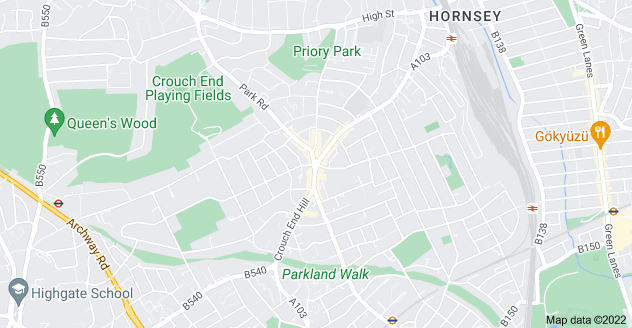 Map of Crouch End, London N8 8DT