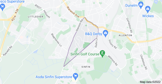 Map of Sunny Hill, Derby