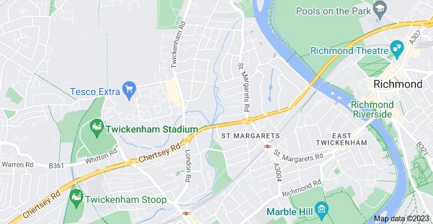 Map of St Margarets, Isleworth, Twickenham TW1 1LY