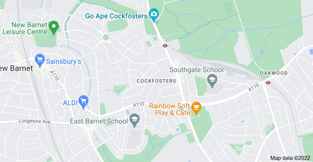 Map of Cockfosters, Barnet EN4 9NE
