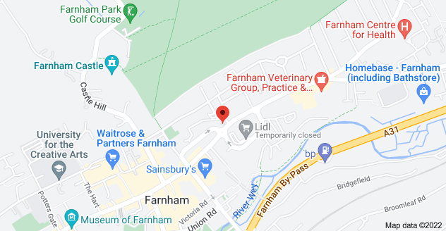 Map of 88 East St, Farnham GU9 7TP