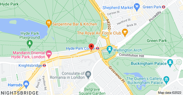 Map of 1 Knightsbridge, London SW1X 7LX