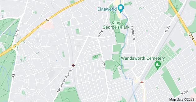 Map of Southfields, London SW18 5JN