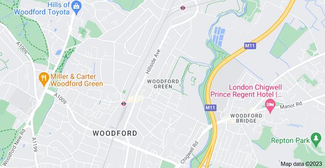 Map of Woodford Green, Woodford, Woodford Green IG8 7NR