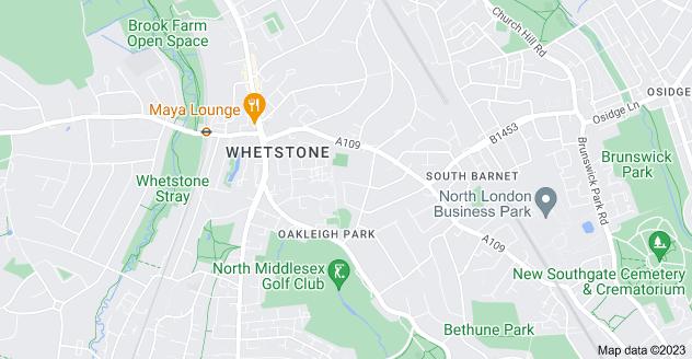 Map of Oakleigh Park, London N20 0HZ