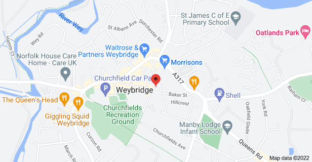 Map of 68 Baker St, Weybridge KT13 8AL