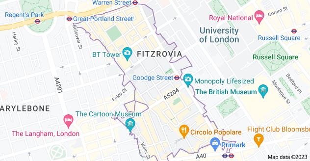 Map of Fitzrovia, London W1T
