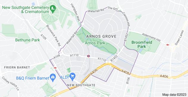 Map of Arnos Grove, London