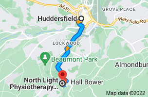 Map from Huddersfield to North Light Physiotherapy Associates, 8, St. Paul's House, Brooke's Mill, Bank Foot Lane, Armitage Bridge, Huddersfield HD4 7NR