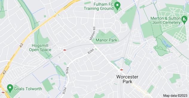 Map of Old Malden, Worcester Park KT4 7NS