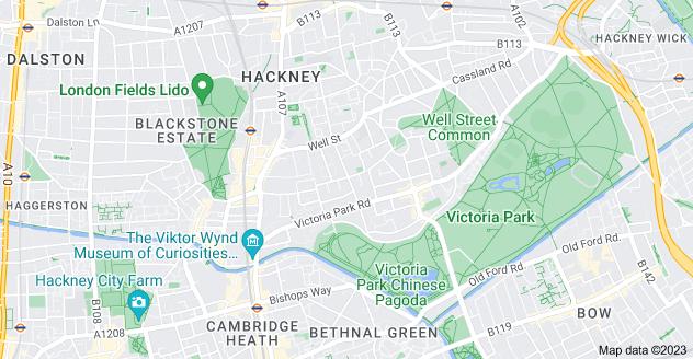 Map of South Hackney, London E9 7JR