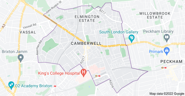 Map of Camberwell, London