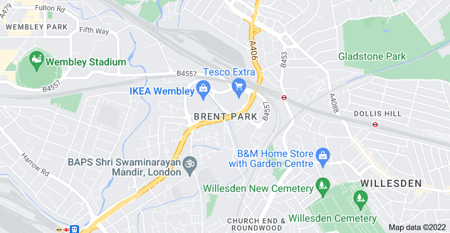 Map of Brent Park, London NW10 9DD