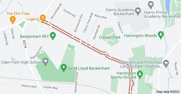Map of Eden Park Ave, Beckenham