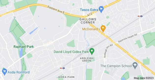 Map of Gidea Park, Romford RM2 6LD