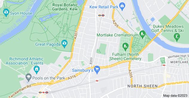 Map of North Sheen, Richmond TW9 2ER