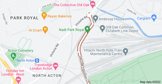 Map of Old Oak Common Ln, London W3 7DS