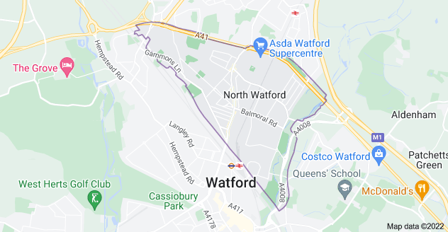 Map of Watford WD24