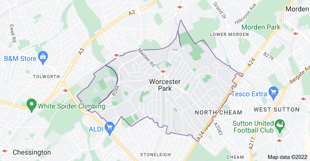 Map of Worcester Park KT4