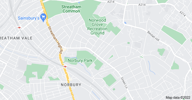 Map of Norbury, London SW16 3JN