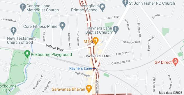 Map of Rayners Ln, Pinner HA5 5HP