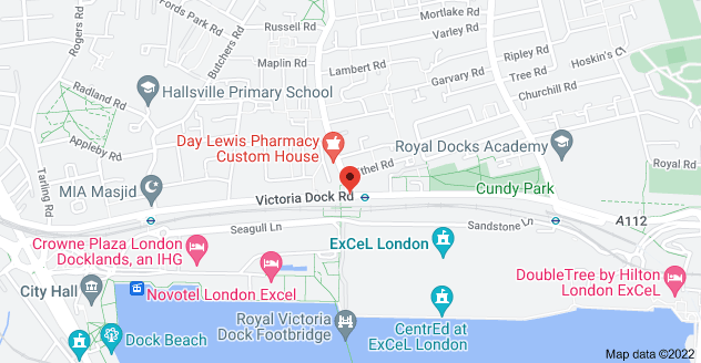 Map of Custom House, Victoria Dock Rd, London E16 3BX