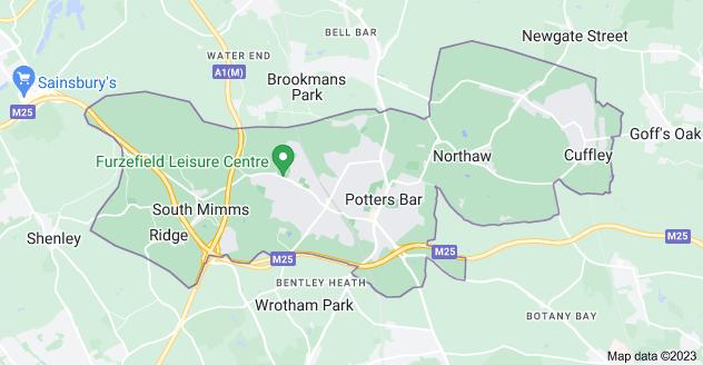 Map of Potters Bar EN6